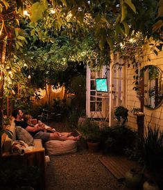 Outdoor Movie Night in a Small Garden — The Tiny Canal Cottage Small Backyard Design, Small Backyard Patio, Backyard Landscaping, Backyard Ideas, Small Outdoor Patios, Outdoor Balcony, Backyard Pools, Outdoor Rooms, Outdoor Living