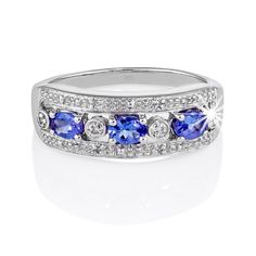 Diamonds : Silver Three Stone Oval Tanzanite and Diamond Dress Ring Dress Rings, Simple Designs, Perfect Wedding, Jewelry Collection, Jewelry Rings, Wedding Rings, Engagement Rings, Gemstones, Detail