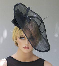 Black Women s Ladies Hat Fascinator Derby Hat Saucer Horse Race Hats 456d60814c8