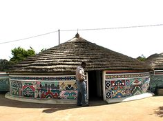 The Ndebele people of South Africa are famous for the colourful patterns applied to the exterior of their houses.