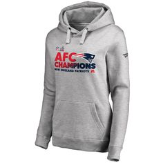 Women s New England Patriots NFL Pro Line by Fanatics Branded Heathered Gray  2016 AFC Conference Champions Trophy Collection Locker Room Pullover Hoodie 62ddb929e