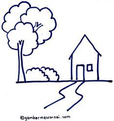 Belajar Menggambar Rumah dengan Crayon