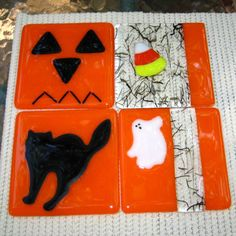 Halloween Coasters Glass Holiday Coasters Fall by GlassCat on Etsy