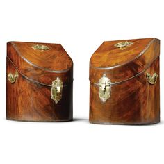 A near pair of George III mahogany knife boxes circa 1760