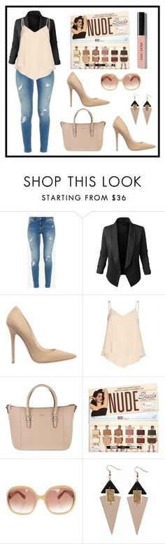 """""""Nude lip"""" by kaguirre93 ❤ liked on Polyvore featuring Ted Baker, Jupe de Abby, Jimmy Choo, Alice + Olivia, Joop!, MaxMara, Toolally and Bobbi Brown Cosmetics"""