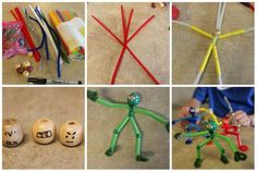 Ninjas avec des pailles et des cure-pipe Fun Easy Crafts, Fun Crafts For Kids, Diy For Kids, K Cup Crafts, Weaving For Kids, Pipe Cleaner Crafts, Wood Turning Projects, Sewing Projects For Kids, Science For Kids