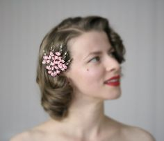 Pink Flower Clip 1950s Hair Accessory Small door ChatterBlossom