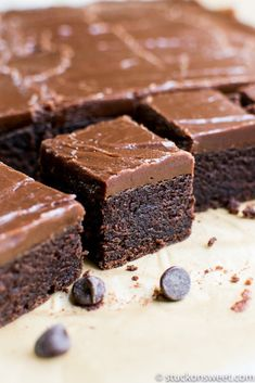 Brownies These are cake-y brownies--not fudgy brownies. I was disappointed with them after I made them.These are cake-y brownies--not fudgy brownies. I was disappointed with them after I made them. Brownie Recipes, Cupcake Recipes, Chocolate Recipes, Baking Recipes, Cookie Recipes, Dessert Recipes, Fudgy Brownie Recipe, Bakery Brownies Recipe, Brownie Toppings