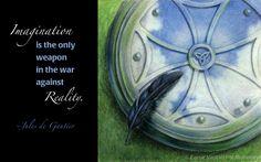 """Armistice"" by Carye VanDerPol Mahoney • #celtic #knotwork #shield #quote #quotation #imagination #crow #raven #feather"