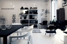 Stylist Lotta Agaton is opening a shop in Stockholm. Photographed here by Pia Ulin. Stockholm, Store Plan, Black Grout, Monochrome Interior, Cozy Nook, Retail Space, Lotta, White Houses, Retail Design