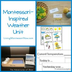 Here are some Montessori-inspired activities to help you in your study of the weather. Most of the activities are for preschool through early elementary, although some are for middle- through high school.