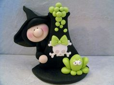 Potions Witch Halloween Figurine by countrycupboardclay on Etsy