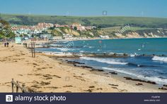 Download this stock image: View across Swanage seafront, Dorset, South of England, UK. - F3J6FW from Alamy's library of millions of high resolution stock photos, illustrations and vectors.