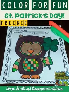 FREE St. Patrick's Day Fun! One Color For Fun Printable Coloring Page Sample #freebie #TPT