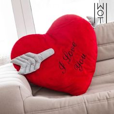Wagon Trend Heart with Arrow I Love You Cushion cm) I Love You, You And I, My Love, Textiles, Heart With Arrow, Backrest Pillow, Gifts, Valentino, Products