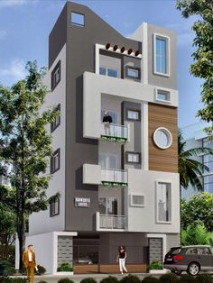 front elevation designs for duplex houses in india Duplex House Design, House Front Design, Cool House Designs, Modern House Design, Front Elevation Designs, House Elevation, Building Elevation, West Facing House, Indian House Plans