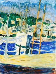 White Yacht Watercolor Pierre Bonnard