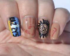 31 Day Challenge, Day 29 (inspired by the supernatural): Supernatural nails.  Focused on Dean for these!