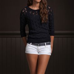 Hollister Knit Sweater, Shorts, and Belt