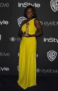 """Viola Davis en la fiesta post-Globos de Oro de la Warner Bros Pictures y la revista InStyle, in Beverly Hills, California. (AFP PHOTO )."""""""
