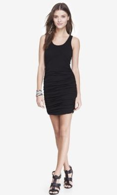BLACK RUCHED TANK DRESS from EXPRESS Black Tank Dress, Lace Dress Black,  White Dress bc122a66576a