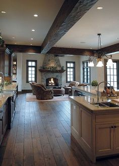 Handscraped Floors Design Ideas, Pictures, Remodel, and Decor - page Beam on the ceiling Oak Hardwood Flooring, Grey Flooring, Bedroom Flooring, Casa Clean, French Oak, Deco Design, My Dream Home, Home Fashion, Great Rooms