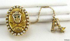 THE SKULL Secret Society 14k Gold Pearl fraternity PIN