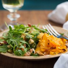 Roasted Butternut Squash Ribbons with Arugula, Pancetta, and Hazelnut Salad