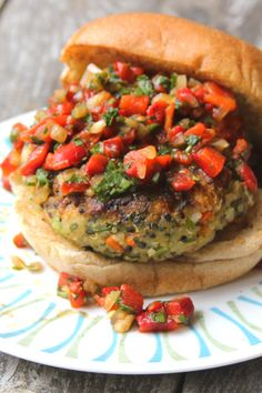 Quinoa Veggie Burger with Roasted Red Pepper Relish // Saveur Magazine