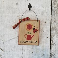 Primitive Country Decor Lady Bug Sunflower