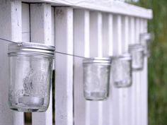 s there anything better than a long evening spent on a back porch with twinkling Mason jar lights? We think not. With this craft from blogger Kristina Booher, galvanized cable and tea light candles lend their talents to a rustic, easy-to-make backyard accessory.