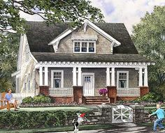 Beautiful Detailing and an Open Layout - 32608WP   Bungalow, Cottage, Country, Craftsman, Shingle, Narrow Lot, 1st Floor Master Suite, Bonus Room, Den-Office-Library-Study, PDF   Architectural Designs