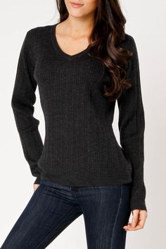 Coupe Hannah Sweater In Heather Charcoal...perfect everyday merino wool sweater.