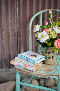 Lovely wrapped vintage books using Hazel & Ruby's Wrap It Up paper rolls.