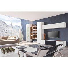 """Eine Harmonie aus Hell und Dunkel: Wohnwand """"Neo"""" macht Ihr Wohnzimmer zur modernen Wohlfühloase. Die Kombination aus Weiß und massivem Nussbaumholz wertet Ihren Raum stilvoll auf. Die natürliche Farbe und Maserung des Echtholzes schafft dabei eine behagliche Atmosphäre. Das glänzende Weiß bildet einen modernen Kontrast zur Natürlichkeit des Holzes und unterstreicht das klare Design. In der Gestaltung dieser ausdrucksstarken Wohnwand sind Sie völlig frei: Sie ist ganz nach Ihren Wünschen…"""