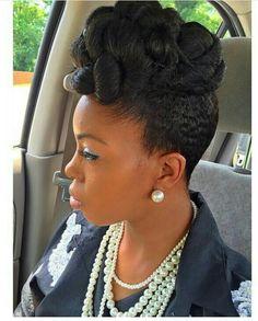 Natural hair updo pinup