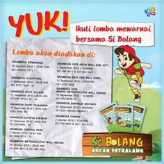 #LombaMewarnai #SiBolang #Gramedia #Jakarta Lomba Mewarnai Bersama Si Bolang 2016 Gramedia  ACARA: 28 Agustus 2016 - 2 Oktober 2016  http://infosayembara.com/info-lomba.php?judul=lomba-mewarnai-bersama-si-bolang-2016-gramedia