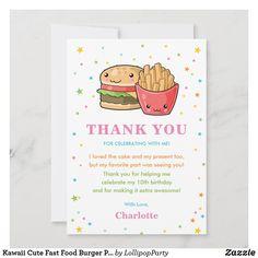Kawaii Cute Fast Food Burger Party Girl Birthday Thank You Card