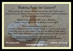 Baking Soda Treatment, Dr. Simoncini (Stage IV).   This treatment works by changing the pH and improving electron flow at the cellular level.  The baking soda must come in contact with the tumor, so for some cancers, a baking soda solution can be taken orally; for others, the solution must be injected; and for skin cancers, it can be applied topically. http://integratingdarkandlight.com/big-pharma-is-making-us-sick/alternative-cancer-treatments/