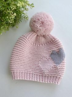 Knit hat with big pompom image 5 crochet pattern frazier the frog in furls whims merino dk yarn Knitted Hats Kids, Baby Hats Knitting, Baby Knitting Patterns, Hand Knitting, Crochet Baby, Knit Crochet, Diy Crafts Knitting, Knitting For Beginners, Etsy