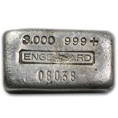 "Early 3oz Engelhard .999+ Fine Silver Poured/Cast Ingot/Bar. Note the low serial number without any letter prefix (i.e. #AC56740), instead it's just numeric. The first digit being a ""0"" is another indicator this is an earlier example of Engelhard's legendary Cast Bars, as is the ""Basic"" version of their logo."
