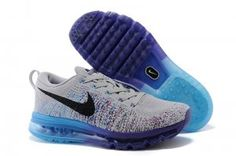half off 81936 3d055 Popular Nike Flyknit Air Max Mens Running Shoes Grey Black Blue