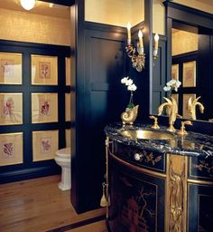 Powder rooms - small Eye For Design: Decorating Traditional, Old World Style Powder Rooms Youth Hero Powder Room Decor, Powder Room Design, Powder Rooms, Dark Elements, Black Toilet, Small Room Design, Old World Style, Beautiful Bathrooms, Fancy Bathrooms