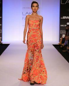 Flame Orange Strapless Gown