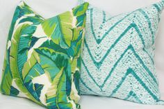 Tropical leaf indoor/outdoor throw pillow cover. by JoyWorkshoppe