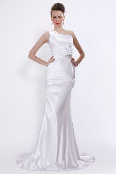 White Floor-Length One Shoulder Satin Sheath Evening Dress With Crystal