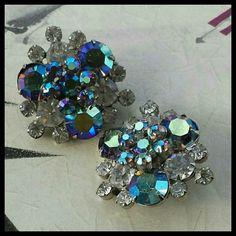 "Vintage Juliana AB Smoke Crystal Clip Earrings Gorgeous D&E (DeLizza & Elster) Julianna AB smoke and crystal clip earrings. No loose stones. 1.25"" Vintage Jewelry Earrings"