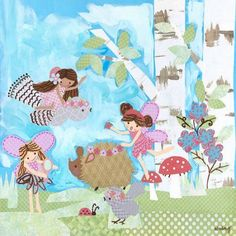 Oopsy Daisy - Birch Tree Fairies - Dress Up With Friends Canvas Wall Art 21x21, Winborg Sisters