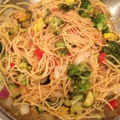 Hickman stir fry with spaghetti noodles. Yum