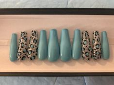 Turqoise Nails, Teal Acrylic Nails, Blue And Silver Nails, Blue Matte Nails, Navy Blue Nails, Yellow Nails, Green Nails, Gold Nails, Tiffany Blue Nails